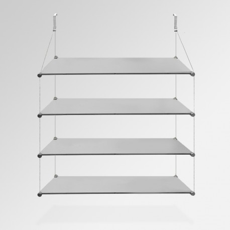 'Temporary Walls' Glass Shelf Unit (Quad / 4x Shelf)