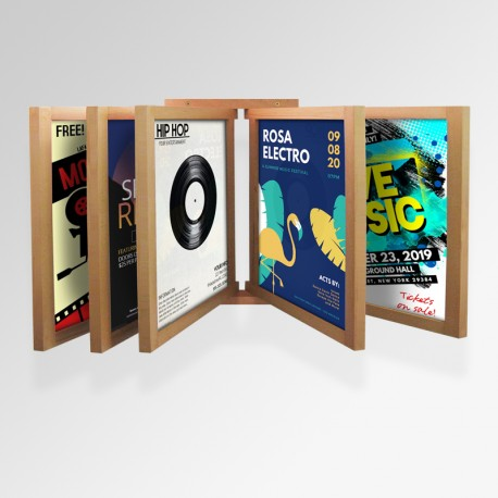 Wall Poster Display Browser, Wall-mounted Wooden Browser