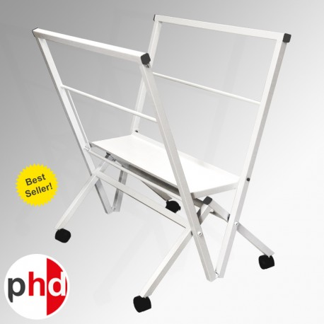 Standard Folding Print Browser, Metal Print Rack in White