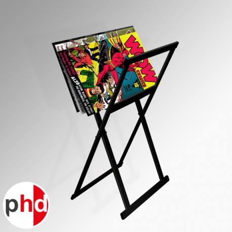 Small Folding Poster Browser, Metal Poster Rack in Black