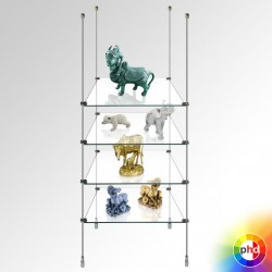 Product Display Shelving, Glass Shelf Rod System