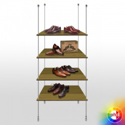 Wooden Rod Shelving Display Unit